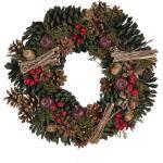 Weihnachtsdekoration Kranz Grün und Rot Holz rund mit Tannenzapfen Zweigen Moos Beeren Eicheln Innenbereich Tischdeko Türdeko Wanddeko