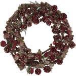 Weihnachtsdekoration Kranz Rot Holz rund mit Tannenzapfen Zweigen Sternen Innenbereich Tischdeko Türdeko Flur Wohn- und Schlafzimmer