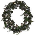 Weihnachtsdekoration Kranz Silber Holz rund mit Tannenzapfen Zweigen Kugeln Innenbereich Tischdeko Türdeko Flur Wohn- und Schlafzimmer