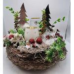 Weihnachtsgesteck Adventsgesteck Adventskranz Teelichter Tannbäumchen Schnees...