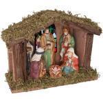 Weihnachtskrippe Holz mit Moos