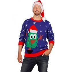 Weihnachtspulli Crazy Christmas Tree Unisex - grün/blau
