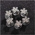 weiß Haarspiralen Haarspinnen,12 Stück Blumen Brauthaarschmuck Hochzeit Kristall Haarklammer Strass Haar Curlies Spiral Klammer Zubehör (11)