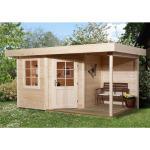 WEKA Holz Gartenhaus Designhaus 213A Gr.2 - 28mm natur 456x238cm mit 150cm Anbau