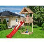 WEKA Kinderspielturm TABALUGA mit Satteldach, natur SPARSET Rutsche