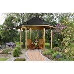 weka Pavillon »Paradies 1«, (Set), BxT: 326x376 cm, inkl. Dachschindeln und Pfostenanker, braun