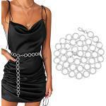 WERFORU Damen Gürtel Mode Metall Kettengürtel für Party Kleider Körper Bauch Taille Kette Bikini Strand Legierung Taille Kette Einstellbare Körperkette Silber 130 cm