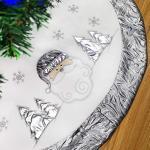 WEWILL werden Marke dicken Weihnachtsbaum Rock Dekoration Santa Scene Baum Rock Home Ornament mit silbernen Rand, 35-Zoll / 90CM Durchmesser (Style 4)