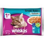 WHISKAS Adult Beutel Fischgeschmack - Nassfutter für Katzen in Gelee (Lachs, Thunfisch, Seelachs, Weißfisch) 4x100g (Rabatt für Stammkunden 3%)