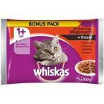WHISKAS Adult Beutel Traditioneller Geschmack (Huhn, Pute, Rind, Lamm) Katzen Nassfutter, in Soße 4x100g (Rabatt für Stammkunden 3%)