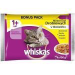 WHISKAS Adult Geflügelgeschmack - Nassfutter für Katzen in Gelee (Huhn, Ente, Pute, Geflüg) 4x100g (Rabatt für Stammkunden 3%)
