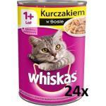 WHISKAS Nasses Katzenfutter für Erwachsene mit Hühnchen in Sauce 24x400g (Rabatt für Stammkunden 3%)