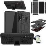 Wigento Handyhülle »Für Motorola Moto G8 Power Lite Hybrid Case 2teilig Schwarz + Hartglas Handy Tasche Hülle Cover Hülle«