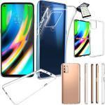 Wigento Handyhülle »Für Motorola Moto G9 Plus Silikoncase TPU Transparent + 0,26 H9 Glas Tasche Hülle Schutz Cover«