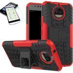 Wigento Smartphone-Hülle »Hybrid Case 2teilig Rot für Motorola Moto G5S Plus + Hartglas Tasche Hülle Cover«