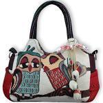 Wilai Eule Eulen Tasche Handtasche Henkeltasche EULE Shoppertasche Schultertasche Eulenmotiv Umhängetasche - verschiedene Motive erhältlich - VINTAGE LOOK/absolut cool und stylish (42242)