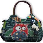Wilai Eule Eulen Tasche Handtasche Henkeltasche EULENMOTIV MIT VERSPIELTEN ACCESSOIRES HAPPY - dunkelblau/grün- Shopper Schultertasche Eule Umhängetasche - VINTAGE LOOK/absolut cool und stylish