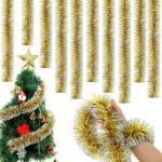 Weihnachten Weiß//Klar Schillernd Lametta Stränge Baumdekoration