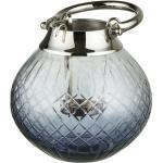 Windlicht ¦ blau ¦ Glas , Edelstahl, Aluminium Ø: 15