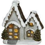 Windlicht Häuser Paar Deko Haus Magnesia braun grau wetterfest 38 cm