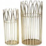 Windlicht Set romantisch 2-teilig mit Glaseinsatz rund in edler Drahtstruktur schwarz od. gold : gold 4251633125066