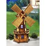 Braune bader Windmühlen aus Massivholz solarbetrieben