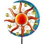 Windrad für den Garten aus Metall Sonne Orange/Blau 162 cm Groß