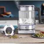 WMF KüchenMinis Vario Glas-Wasserkocher mit Teesieb, 1,0 l, Edelstahl