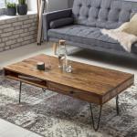 Wohnling Couchtisch BAGLI Massiv-Holz Sheesham 120 cm breit Wohnzimmer-Tisch Design Metallbeine Landhaus-Stil Beistelltisch (175,99 € pro 1 stk.)
