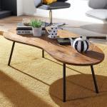 Wohnling Design Couchtisch WL5.617 122x36x63 cm Sheesham mit Metallbeinen Schwarz Nierentisch Massivholz Grau Holztisch Tischbeine Metall Cooler Massivholztisch Tisch Flach Modern (129,99 € pro 1 stk.)