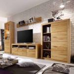 Wohnzimmer Schrankwand aus Asteiche geölt 200 cm hoch (4-teilig)