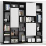 Wohnzimmerregal mit Türen Eiche Schwarz Braun und Weiß