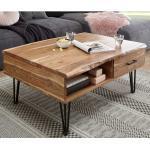 Wohnzimmertisch aus Akazie Massivholz und Metall hochklappbarer Tischplatte