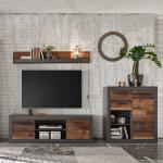 Wohnzimmerwand im Loft Design Dunkelgrau und Altholz Optik (3-teilig)