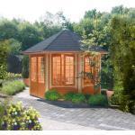 Wolff Finnhaus Holz Gartenpavillon Ibiza 42 mm A - Gartenlaube mit Fenstern Wolff Finnhaus