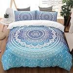 WONGS BEDDING Bettwäsche Mandala Bettbezug Set 200×200 Mikrofaser Bettwäsche Set 3 Teilig Bettbezüge mit Reißverschluss und 2 50×75 cm Kissenbezug(Hell Blau)