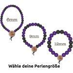 WOOD FELLAS Armband » Holz-Armband legerer Mode-Schmuck Deluxe Pearl Bracelet Holzanhänger Lila/Schwarz«