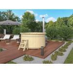 WOODTEX Badefass Hot Tub mit Außenofen aus Aluminium