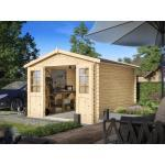 WOODTEX Gartenhaus Blockbohlenhaus CA2875 Houston 28 mm naturbelassen