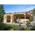 WOODTEX Gartenhaus Blockbohlenhaus CA2977 28 mm naturbelassen mit 3 m Anbau