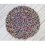 Wooldot Wollteppich »Mixed Color«, rund, Höhe 23 mm, Filzkugel-Teppich, reine Wolle, beidseitig verwendbar, Wohnzimmer, bunt, bunt-hellrot