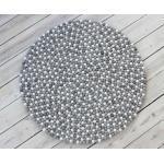 Wooldot Wollteppich »Mixed Color«, rund, Höhe 23 mm, Filzkugel-Teppich, reine Wolle, beidseitig verwendbar, Wohnzimmer, grau, hellgrau