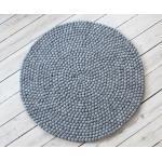 Wooldot Wollteppich »Uni Color«, rund, Höhe 23 mm, reine Wolle, Filzkugel-Teppich, beidseitig verwendbar, grau, stahlgrau