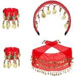 WOOOOZY Set Zigeunerin Haarband, Hüfttuch, 2 Armbänder