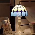 WRMING 8 Zoll Vintage Tischlampe Tiffany Weiße Metall Nachttischlampe Blau Orange Pastoralen Glasmalerei H15 Zoll Schlafzimmerlampe Art Deco kinderlampe, mit Kabel und Schalter, E27,Blau