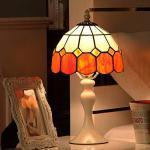 WRMING 8 Zoll Vintage Tischlampe Tiffany Weiße Metall Nachttischlampe Blau Orange Pastoralen Glasmalerei H15 Zoll Schlafzimmerlampe Art Deco kinderlampe, mit Kabel und Schalter, E27,Orange