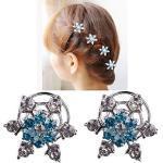 WUKONG99 Haarschmuck 6er Set wunderschöne Sterne Blumen Haarspiralen Haarnadeln aus, Perle, Strass, Braut Hochzeit Perle Strass Haarschmuck Haarspiralen