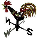Xclou Windspiel Wetterhahn, mit Windrichtungsanzeige, für Balkon und Garten, hochwertiger Kunstoff, ca. 31 x 7 x 45, gelb, schwarz, rot