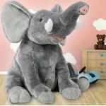 XL Stofftier Plüschtier Kuscheltier Plüsch Elefant Kinder Spielzeug 90cm Grau
