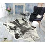 XXL Fellteppich, großer Kurzflor Teppich Kuhfell schwarz